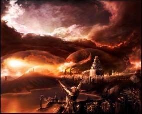 Обои Вечерний город: Огни, Город, Вечер, Фэнтези, Небо, Фэнтези