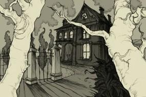 Обои Mirror Cradle: Деревья, Рисунок, Дом, Фэнтези