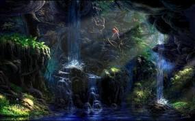 Обои Джунгли: Вода, Лес, Деревья, Водопад, Лучи, Птицы, Фэнтези