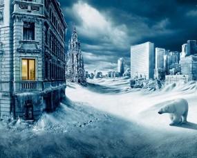 Обои Заснеженный город: Зима, Снег, Медведь, Катастрофа, Фэнтези