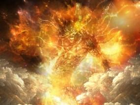 Обои Огненный демон: Огонь, Демон, Арт, Ярость, Фэнтези