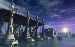 Обои Sci Fi City: Вода, Город, Солнце, Фэнтези