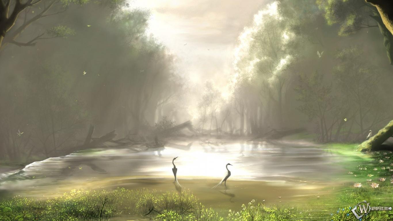 Скачать обои Лесное озеро (Лес, Озеро, Рисунок, Птицы) для ...
