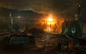 Обои Город будущего: Город, Арт, Будущее, Фэнтези