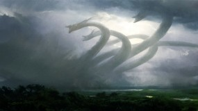 Обои Ужасы стихий: Облака, Дымка, Гидра, Фэнтези
