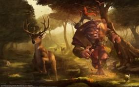Обои Охота: Лес, Олень, Охота, Гоблин, Фэнтези