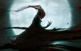 Обои Dramargu: Луна, Чёрный, Красный, Демон, Фэнтези