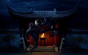 Обои Ниндзя: Огонь, Ночь, Храм, Ниндзя, Фэнтези