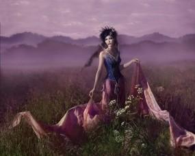 Обои Девушка в поле: Платье, Туман, Поле, Трава, Фэнтези