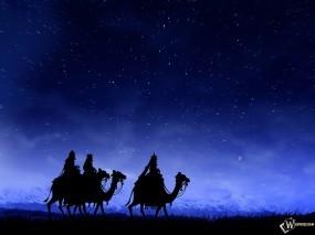 Обои Бедуины: Пустыня, Ночь, Караван, Верблюды, Арабы, Фэнтези