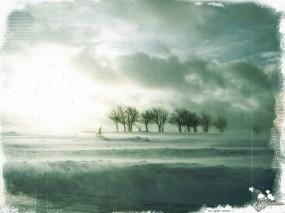 Обои Пейзаж: Путь, Вьюга, Человек, Плохая погода, Фэнтези