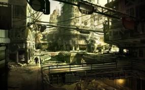 Обои Развалины города: Город, Рисунок, Развалины, Фэнтези