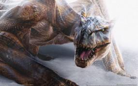 Обои Дракон: Снег, Дракон, Зубы, Фэнтези