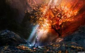 Обои Горящее дерево: Цвета, Огонь, Фантастика, Пожар, Фэнтези