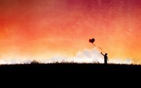 Обои Мальчик с шариком: Шарик, Сердце, Вектор, Мальчик, Фэнтези