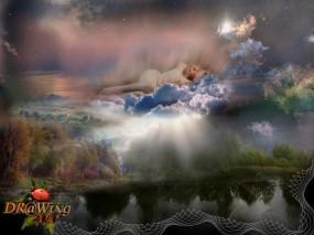 Обои Суть природы: Облака, Деревья, Природа, Девушка, Фэнтези