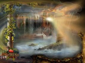 Обои Пробуждение: Солнце, Девушка, Водопад, Лучи, Фэнтези