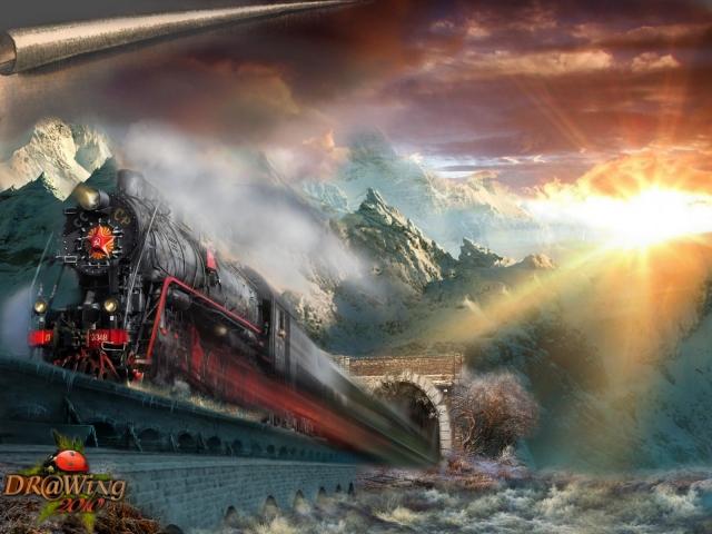 поезд фотообои: