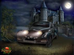 Обои Автомобиль при луне: Луна, Замок, Автомобиль, Фэнтези