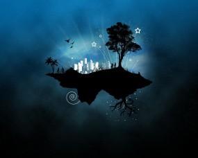 Обои Стильный остров: Остров, Дерево, Вектор, Стиль, Фэнтези