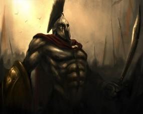 Обои Спартанец: Рисунок, Воин, Спарта, Фэнтези