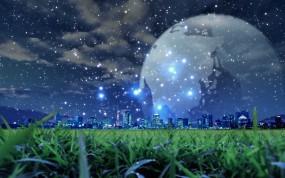 Обои Звездный город: Город, Ночь, Звёзды, Обработка, Фэнтези
