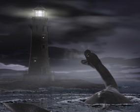 Обои Чудовище у маяка: Монстр, Маяк, Чудовище, Фэнтези