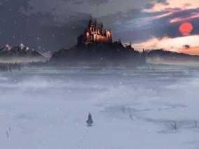 Обои Замок зимой: Зима, Снег, Поле, Человек, Замок, Фэнтези