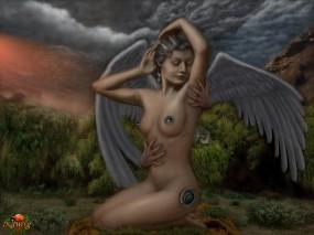 Обои Ангел.: Горы, Природа, Ангел, АриSt@Rх, Фэнтези
