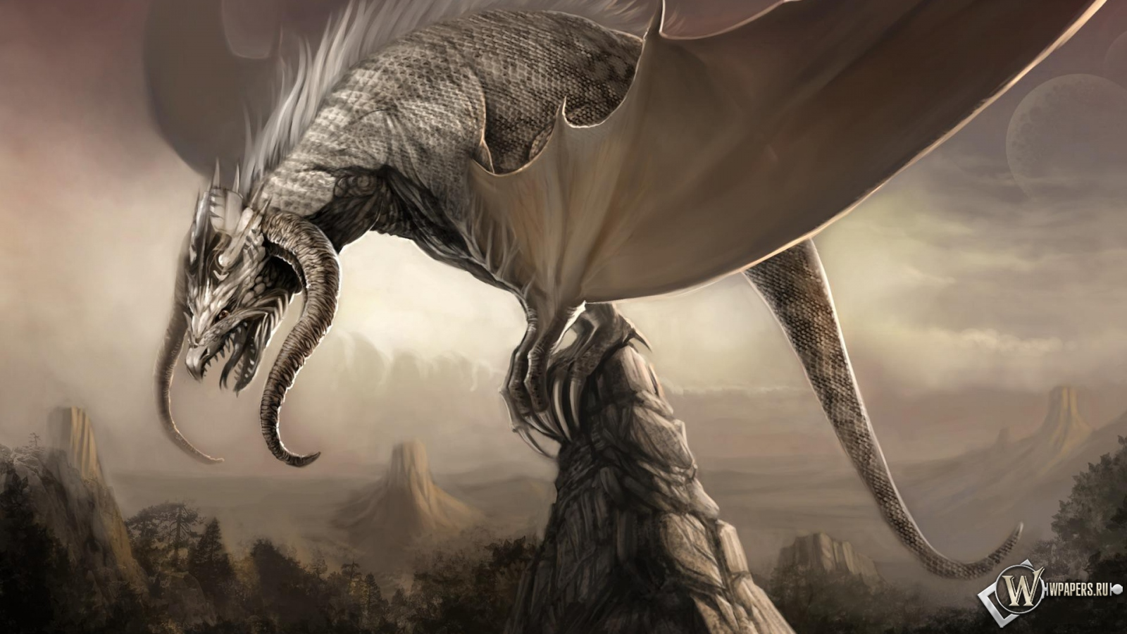 Дракон на скале горы скалы дракон