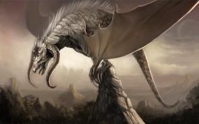 Обои Дракон на скале: Горы, Скалы, Дракон, Крылья, Фэнтези