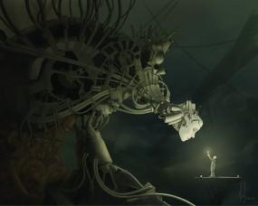Обои Мальчик со свечкой: Человек, Лицо, Робот, Киберпанк, Фэнтези