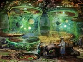 Обои Лаборатория по созданию планет: Планеты, Лаборатория, Ученый, Оборудование, Фэнтези