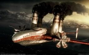 Обои Воздушный паровоз: Дым, Фэнтези, Самолёт, Паровоз, Фэнтези