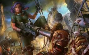 Обои Хэдшот: Девушка, Оружие, Солдат, Зомби, Фэнтези