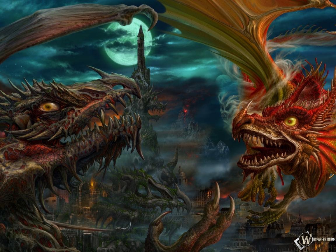 Обои драконы битва драконы 1152x864