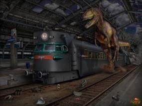 Обои Охотник: Поезд, Динозавр, Фэнтези