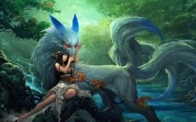Обои девушка с волком: Природа, Девушка, Волк, Фэнтези