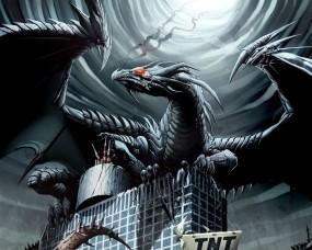 Обои Дракон на здании: Здание, Дракон, Крылья, Фэнтези