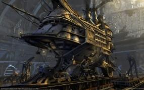 Обои TPS Barracuda: Корабль, Steampunk, Строительство, Стимпанк, Фэнтези