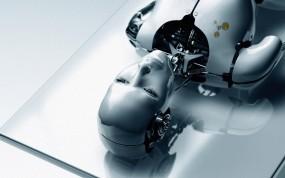 Обои Human Robot: Белый, Лицо, Робот, Стол, Фэнтези