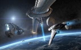 Обои Космическая эра: Космос, Орбита, Планета, Корабли, Фэнтези