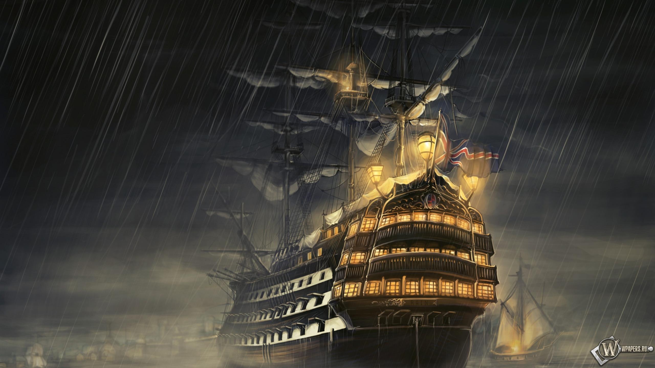 Парусник под дождем море ночь дождь