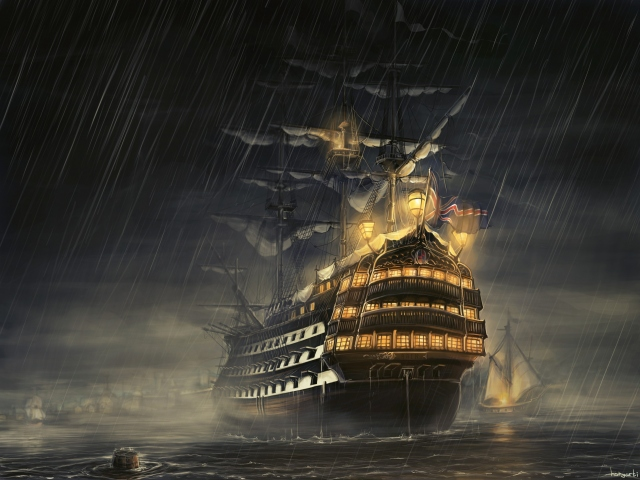 Парусник под дождем