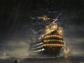 Обои Парусник под дождем: Море, Ночь, Дождь, Парусник, Корабль, Фрегат, Фэнтези