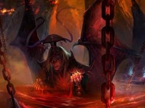 Обои Падший Демон: Цепи, Кровь, Демон, Ад, Фэнтези