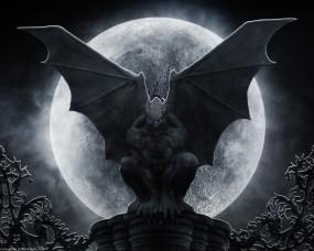 Обои Гаргулья: Луна, Демон, Готика, Статуя, Фэнтези