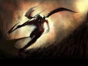 Обои Падший Ангел: Демон, Коса, Падший Ангел, Фэнтези