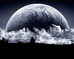Обои Огромная планета: Облака, Ночь, Планета-гигант, Фэнтези