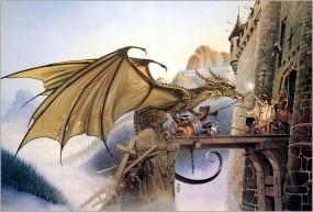 Обои Chris achilleos dragonspell: Горы, Дракон, Фентези, Крепость, Войны, Оборона, Фэнтези